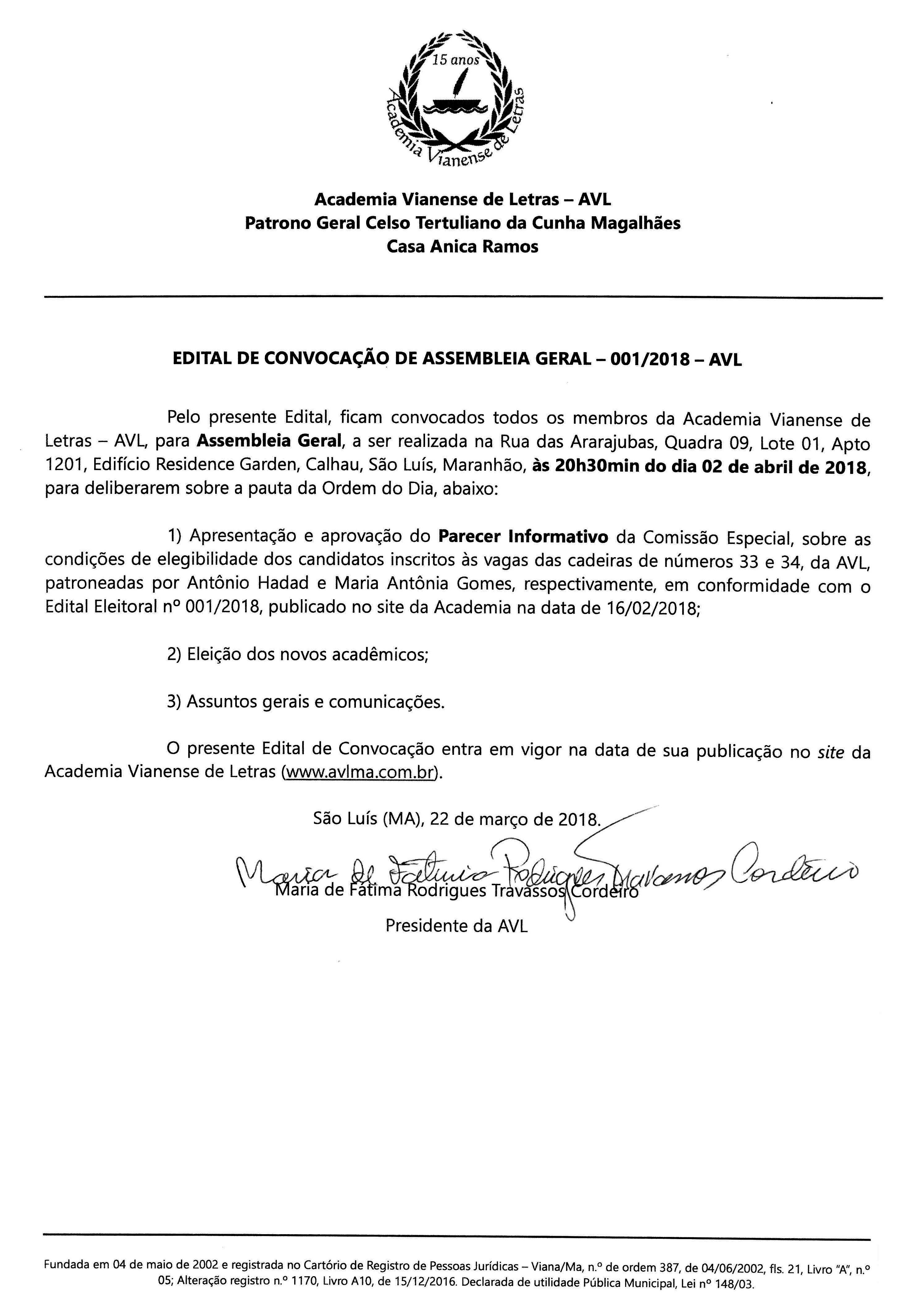 EDITAL DE CONVOCAÇÃO DE ASSEMBLEIA GERAL